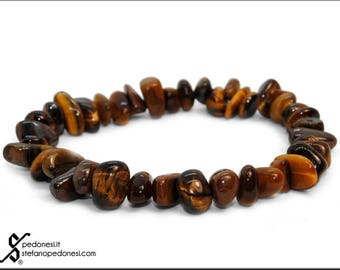 Elastic bracelet with tiger eye with puppet pebbles