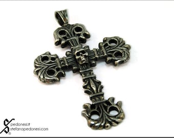 Silver Cross with Skull
