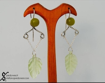 Silver earrings with aventurine and leaf in new jade