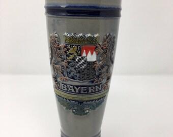 Vintage Gerzit West Germany Beer Stein Bayern-Bavaria Lion Crest Coat of Arms Ceramic Stoneware