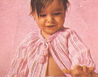 Pink Baby Sacque Baby Vintage Knitting  Infant Pattern Size 6 Months- 1 Year  *PDF Instant Download*