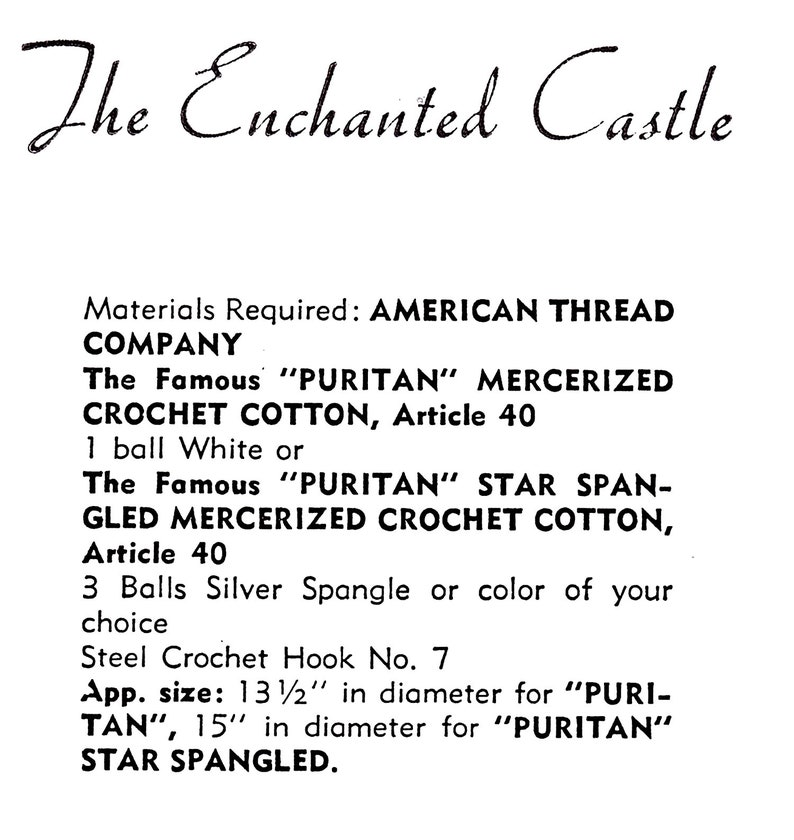 Vintage Crocheted Doily American Thread  The Enchanted Castle  Round Doily Crocheting Pattern 13 12  Diameter *PDF Instant Download*
