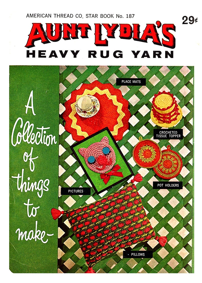 Aunt Lydia/'s Rug Yarn  Book 187 Collection Of Things To Make Afghan Pillows Place Mats Bathroom Set Vintage *PDF Instant Download*