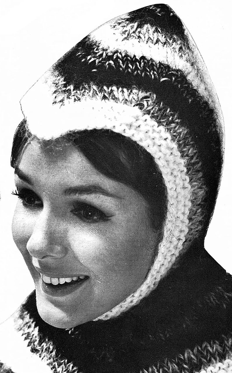 ladies knitted Crusader Hood winter hat Knitting Pattern *PDF Instant Download* Women/'s Knitted hat pattern