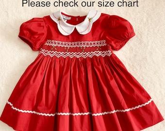 23f893ab8dc09 Christmas Smocked Dresses, Christmas Dress, Smocked Dress, Girls Smocked  Dress, Christmas Smocked Dress
