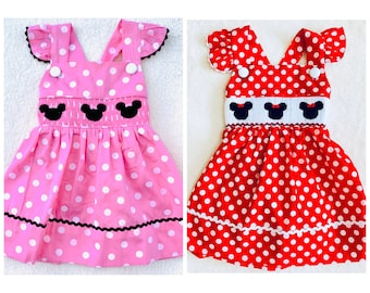 New Toddler Girls 2T Minnie Mouse Romper Knit Pink White Plaid Smocking
