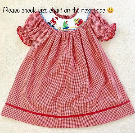 image 0 - Christmas Smocked Dress Girls Smocked Dress Gingham Smocked Etsy