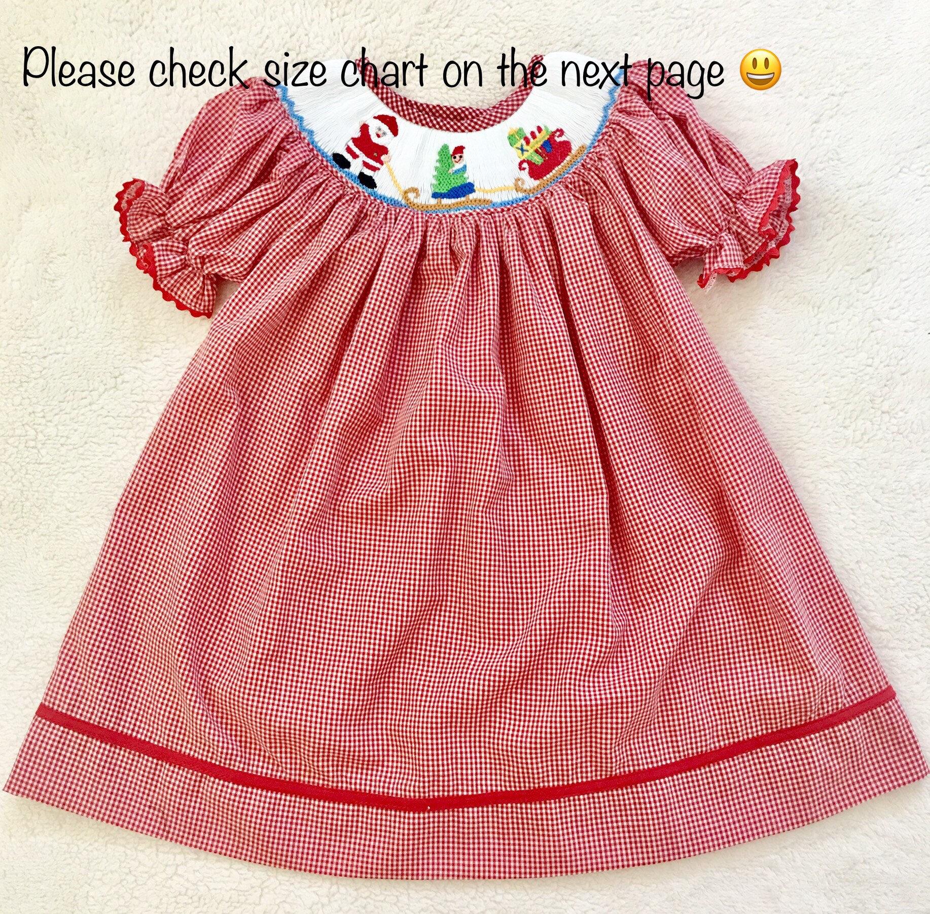 Weihnachten Smok Kleid Mädchen Smok Kleid Gingham Smok Kleid | Etsy