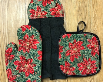 Poinsettia Theme Oven Mitt, Pot Holder and Hanging Towel Kitchen Set