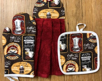 Coffee Theme Oven Mitt, Pot Holder and Hanging Towel Kitchen Set