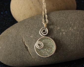 Arabesque necklace aluminum sequined resin