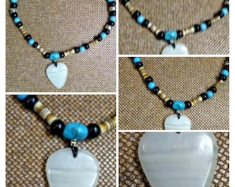 white onyx guitar pick shaped beaded necklace