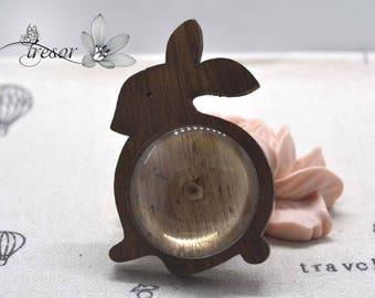Rabbit, materials, brooches, wood 25mm + glass Cabochon, 25mm