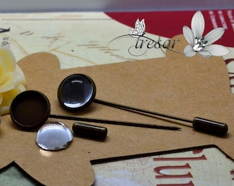 supports, pins, Bronze, 12mm + glass Cabochon, 12mm