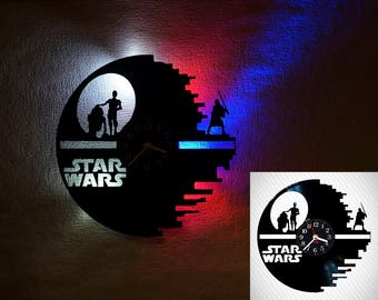 Star Wars clock, Star Wars Wall clock, vinyl record clock, vinyl clock, LED lights, steampunk wall clock, nightlights, kids clock