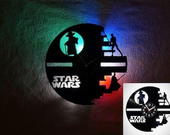Star Wars clock, Star Wars Wall clock, vinyl clock, vinyl record clock, LED clock, LED lights, steampunk wall clock, nightlights, kids clock