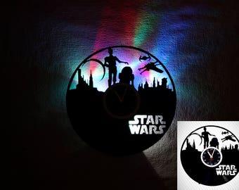 Star Wars vinyl record clock, LED Wall clock, R2D2, c3po, star wars décor, star wars gift, Slow flow lights, star wars art, kids clock