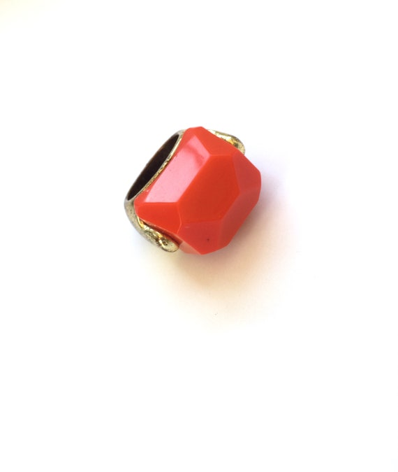 Bakelite Ring Bakelite Jewelry Chunky Orange Ring Orange Pride Syracuse University Vintage Costume Jewelry Orange Multifaceted Stone Gift