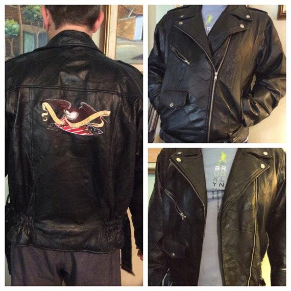 Vintage leather motorcycle jacket retro leather ja