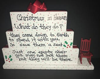 Personalized  Christmas in Heaven Sign, Christmas, Chair, Heaven, Christmas in Heaven, Can be personalized, Loved One, Memory Piece, Table T