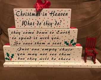 Christmas, Chair, Heaven, Christmas in Heaven, Can be personalized, Loved One, Memory Piece, Table Top Piece, Center Piece
