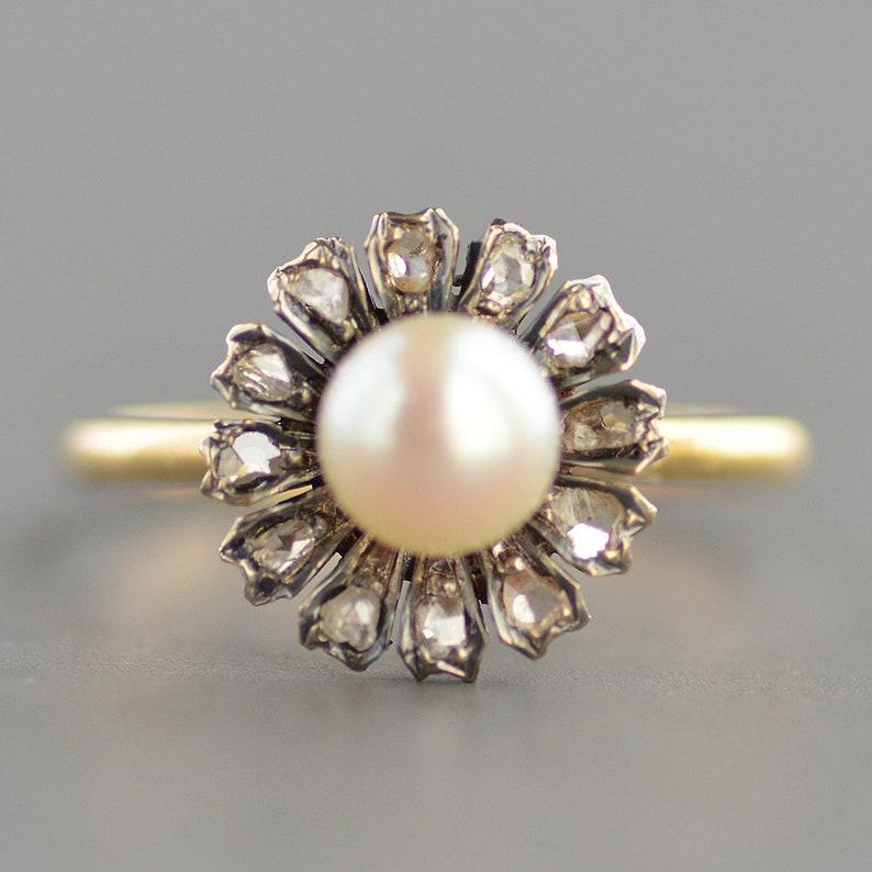 dfaadf6e053a5 Antique Edwardian Era rose cut diamond floral pearl stickpin conversion  ring in 14k gold & silver
