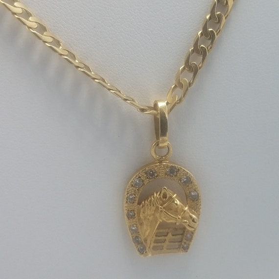 18k Necklace Man S Figaro Necklace With Pendant 18k Gold Etsy