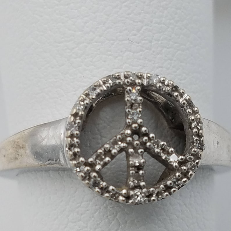 Peace Ring Perfect Gift\u2013 Free Shipping! Gold Ring 10K Solid White Gold Hand Made Designer Size 5 Peace Ring for Her