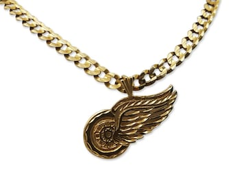 Red Wings Necklace, Gold Necklace, Handmade 14k Solid Gold Curb Chain Necklace with Detroit Red-Wings Pendant