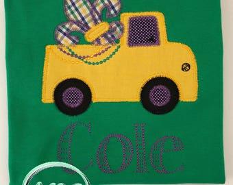 Boy's Mardi Gras Fleur De Lis Truck Applique Shirt