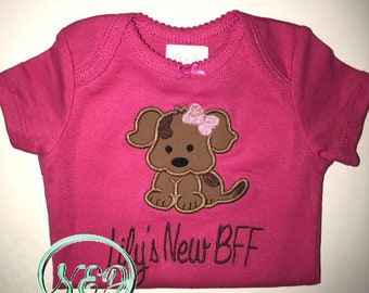Girl's Puppy Applique Bodysuit/Shirt