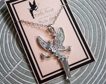 Tinkerbell Necklace - Rhinestone Tinkerbell - Disney Necklace