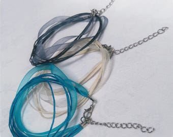 3 waxed cord and Organza Ribbon necklace