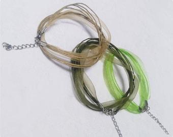 Waxed cord and Organza Ribbon necklace