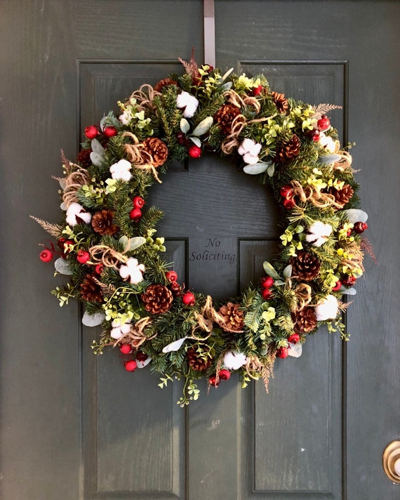 Cotton Wreath Christmas Wreaths For Front Door Christmas Wreath Christmas Door Wreath Rustic Christmas Wreath Christmas Door Wreath