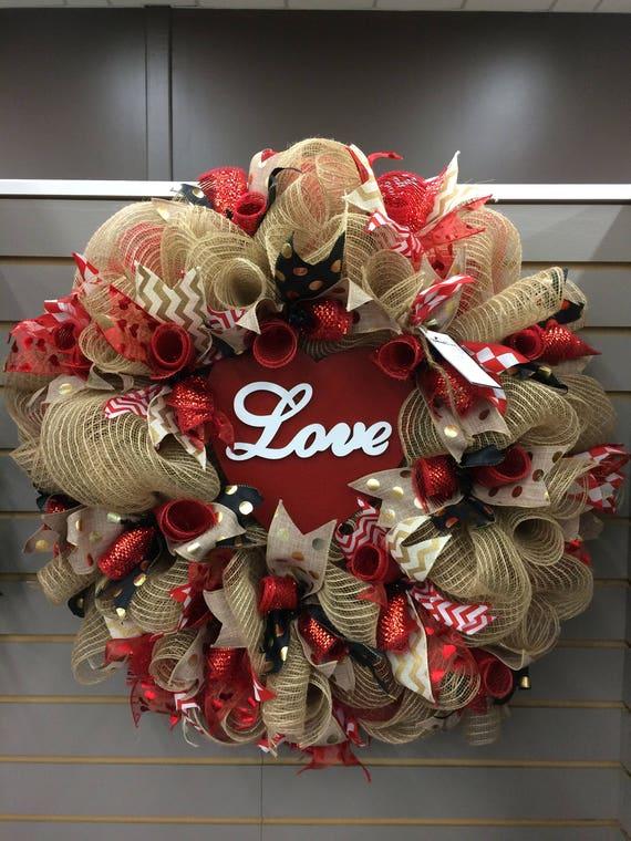 Valentines Wreath Valentines Mesh Wreath Valentine S Day Etsy