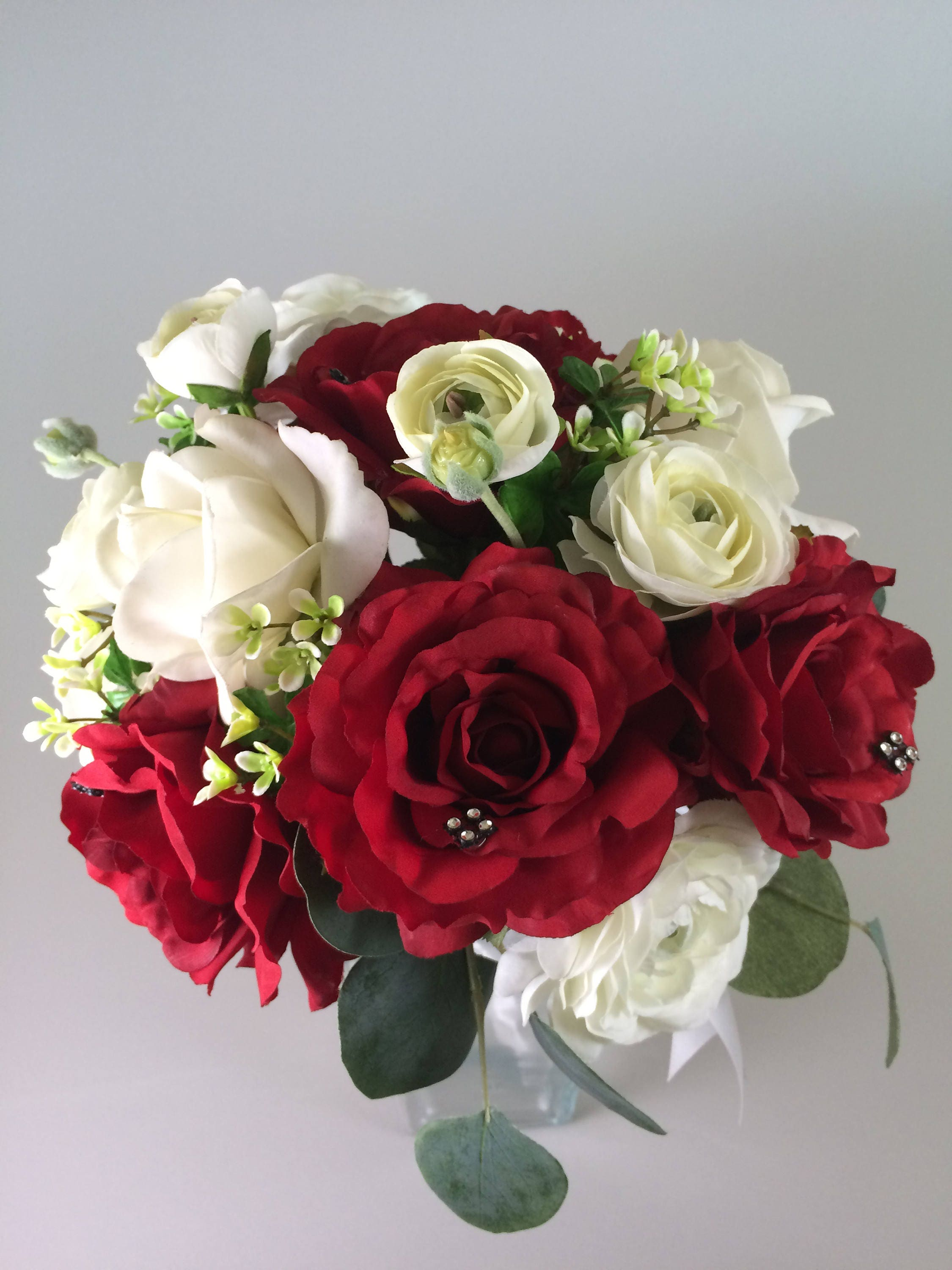 Winter Wedding Bouquet Rose Bouquet Red White Bouquet Etsy
