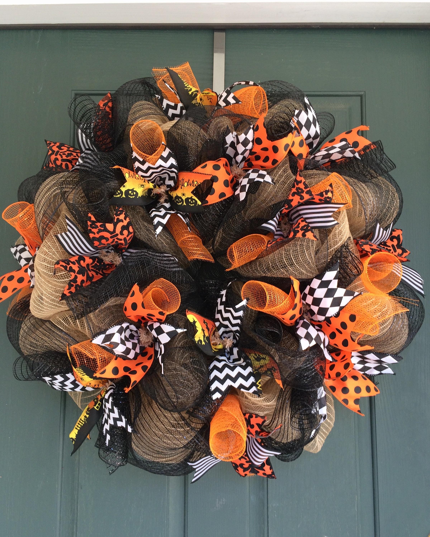 Halloween Wreath Halloween Wreath For Front Door Black And Etsy