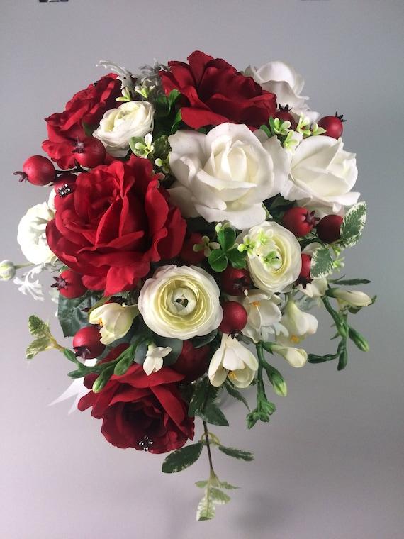 Winter wedding bouquet Rose bouquet Red white bouquet | Etsy