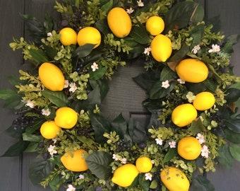 SUMMER WREATHS, Yellow Lemons Wreath, Boxwood and Lemons wreath, Front porch wreath, Summer Door Wreaths, Everyday wreath, Fruit wreath