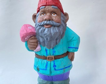 "10"" Hand-Painted Concrete Gnome Statue"