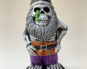 """Hand-Painted 6.5"""" Cement (slightly dead) Gnome Statue"""
