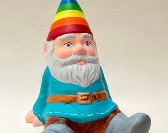 Hand-Painted Sitting Ceramic Pride Gnome