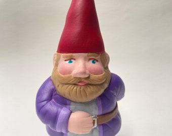 """7 1/4"""" Hand-Painted Ceramic Gnome Statue"""