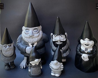 Order will take one month -- Addams Family Set of Hand-Painted Ceramic Gnomes