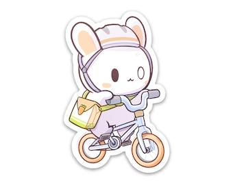 "Bunny on a Bike Vinyl Sticker (3"")"