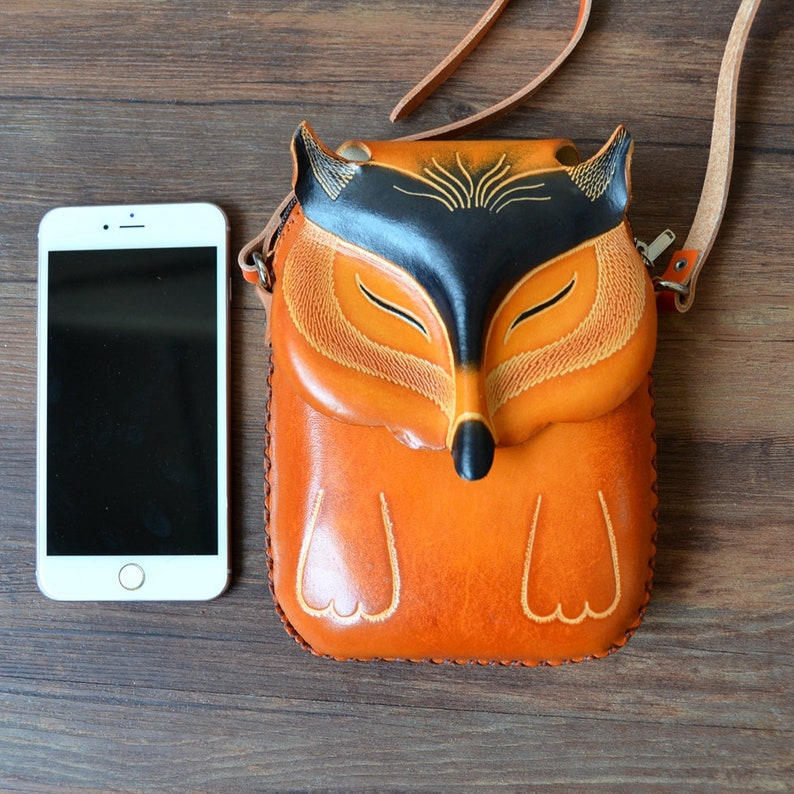 Valentines/'s Day Gifts kids bag Leather fox cross body bag animal bag small bag zipper pouch fox lover gift fox purse phone bag