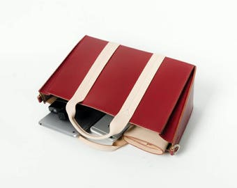 Big Red Leather Tote Bag, tote bag,fashion bowknot tote, shoulder bag, cross body bag, leather crossbody bag, handbag, personalized tote