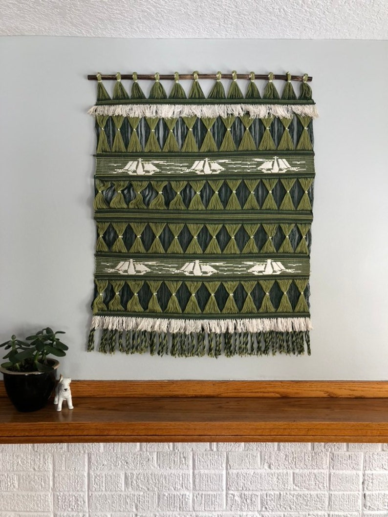 Green Mid Century Wall Hanging Woven String Tapestry Vintage Textile Art Sailboats