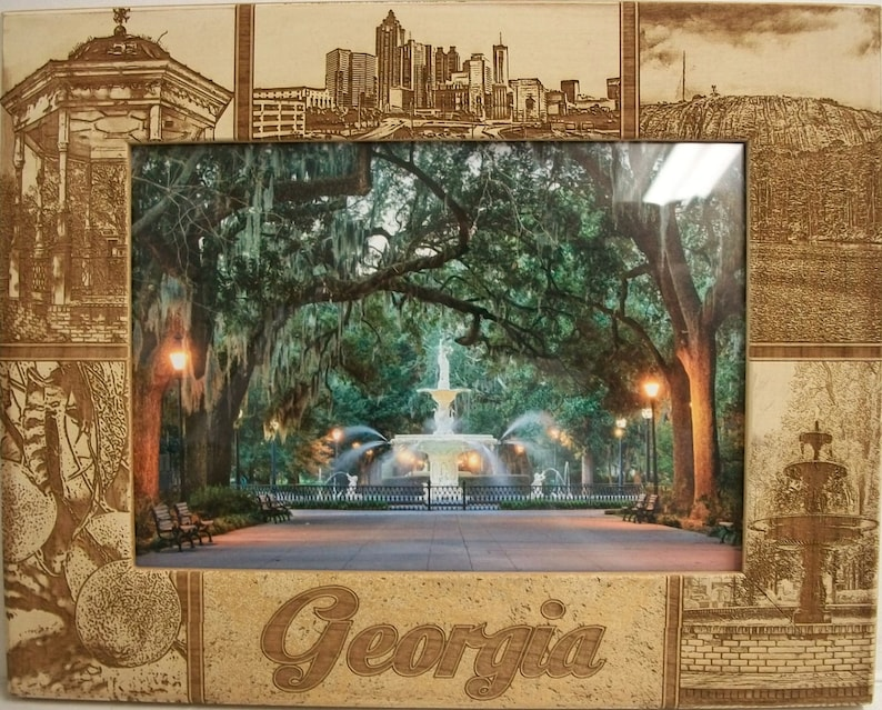 5 x 7 Georgia Laser Engraved Wood Picture Frame